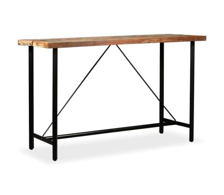 vidaXL 9-dielna barová súprava, masívne recyklované drevo a pravá koža[3/15]