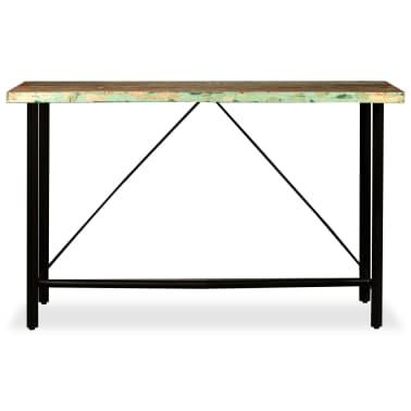 vidaXL 9-dielna barová súprava, masívne recyklované drevo a pravá koža[4/15]