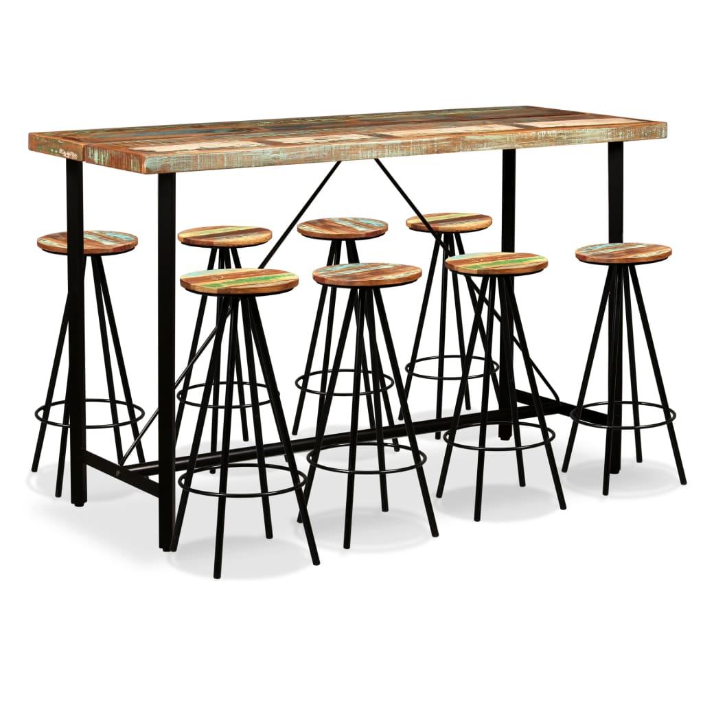 Imagen de vidaXL Set muebles de bar 9 piezas madera maciza reciclada