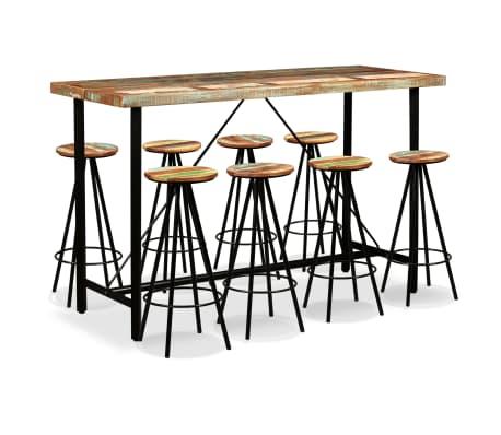 vidaXL Set muebles de bar 9 piezas madera maciza reciclada