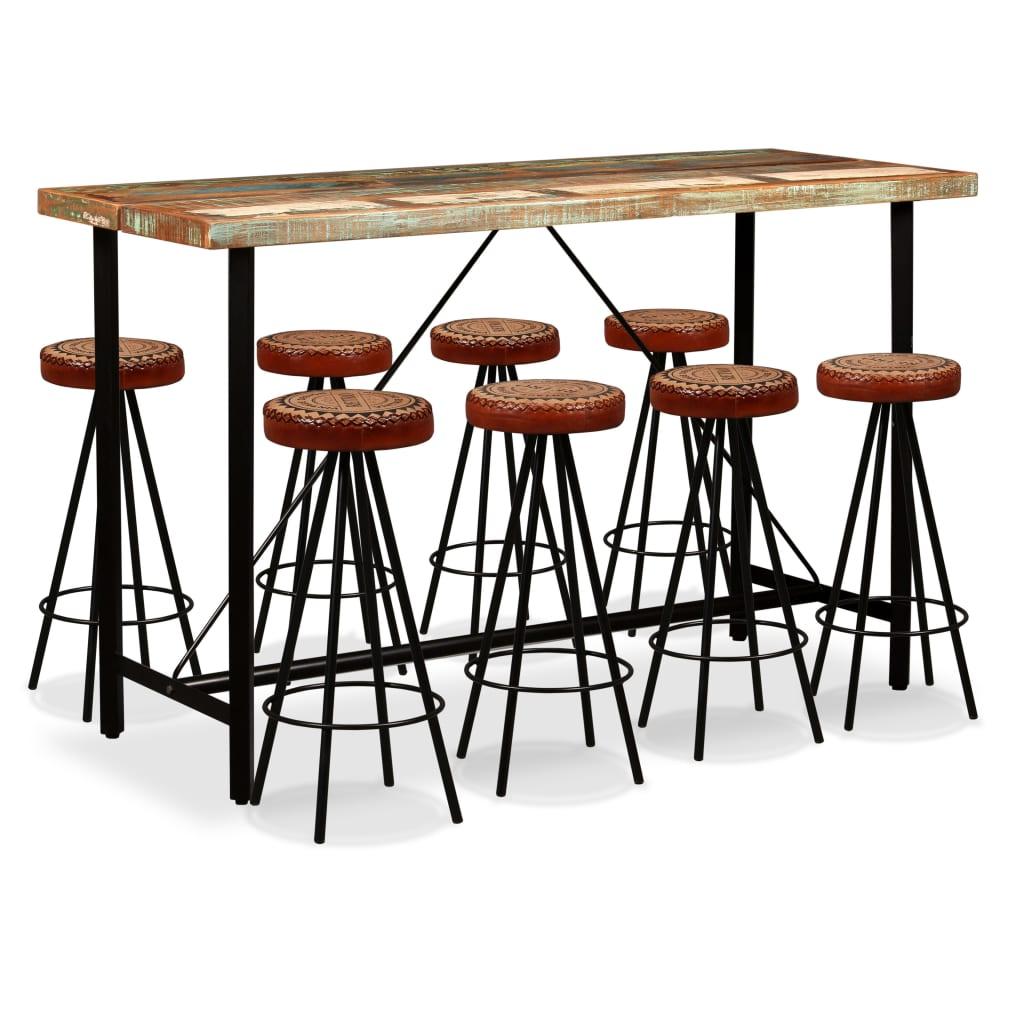 vidaXL Set bar, 9 piese, lemn masiv reciclat, piele naturală și pânză poza 2021 vidaXL