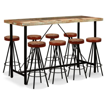 vidaXL Bar Set 9 Pieces Solid Reclaimed Wood, Genuine Leather & Canvas[1/16]