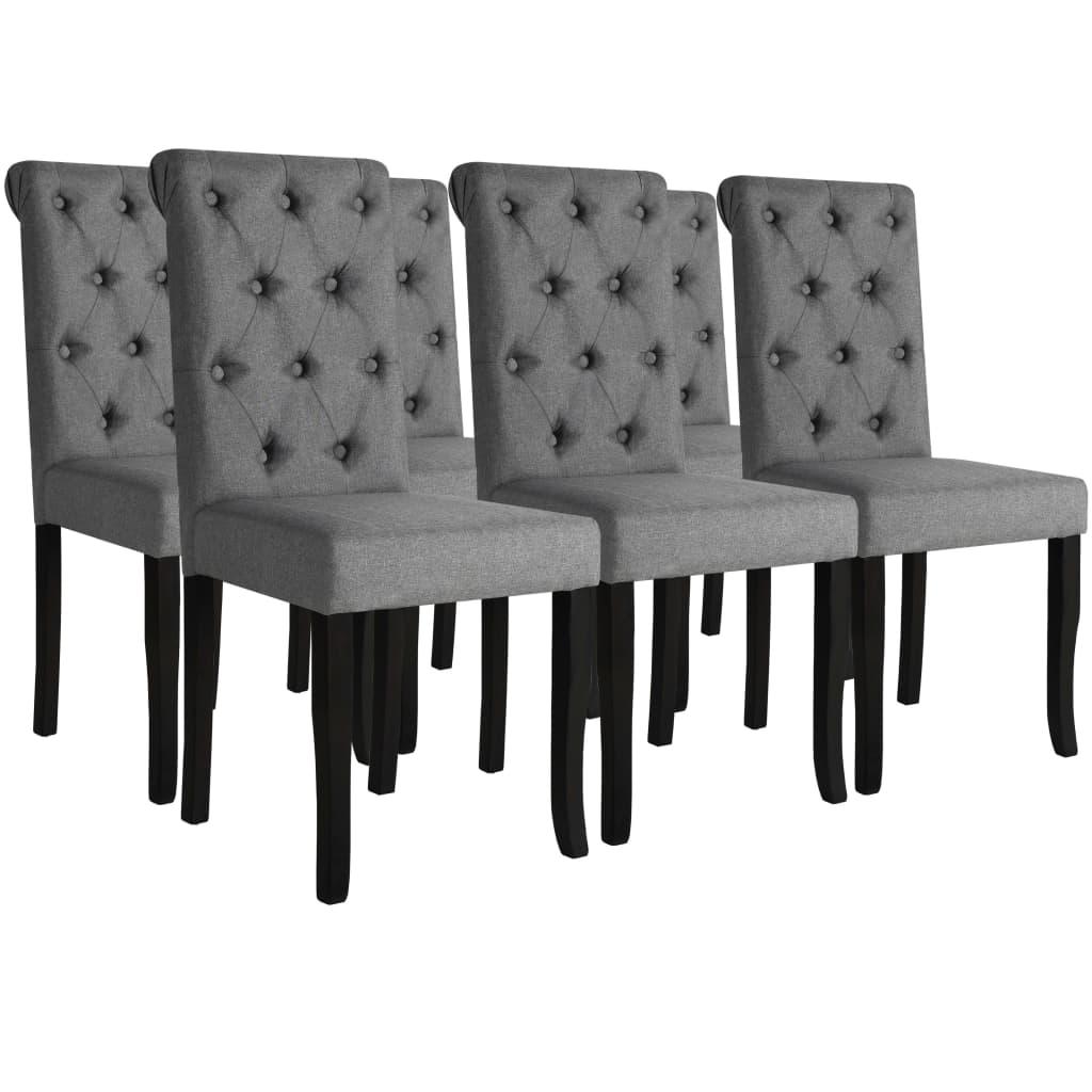 vidaXL Καρέκλες Τραπεζαρίας 6 τεμ. Σκούρο Γκρι από Μασίφ Ξύλο