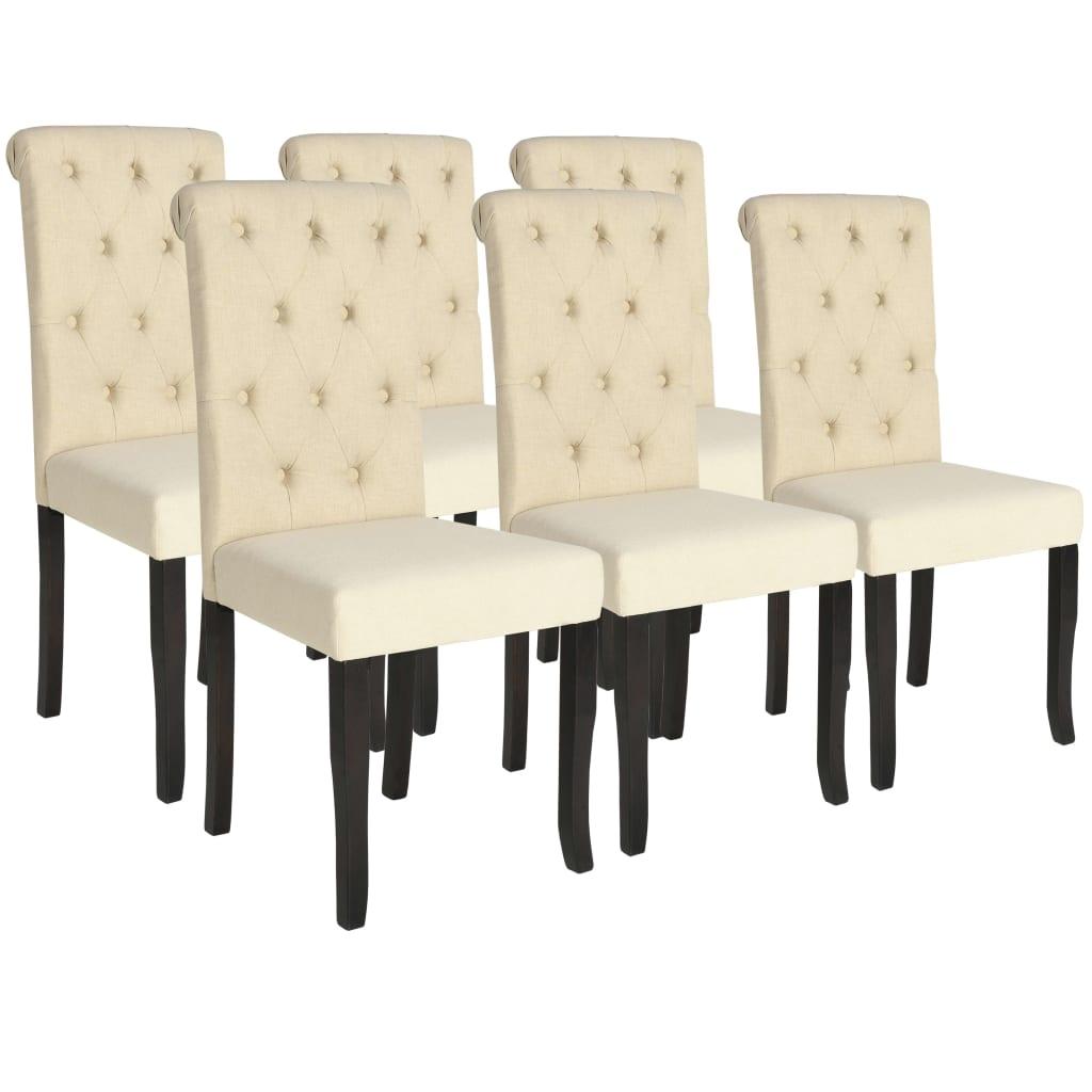 vidaXL Καρέκλες Τραπεζαρίας 6 τεμ. Κρεμ Υφασμάτινες
