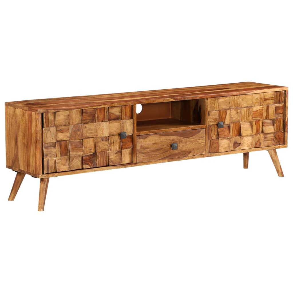 vidaXL TV stolek z masivního sheeshamového dřeva 140x30x40 cm medový