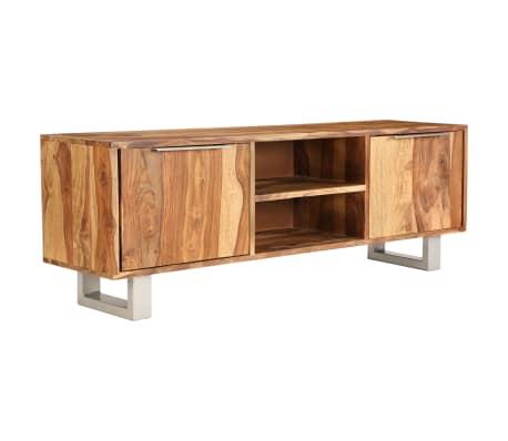vidaXL TV-bänk i massivt sheshamträ med honingsfinish 118x30x40 cm