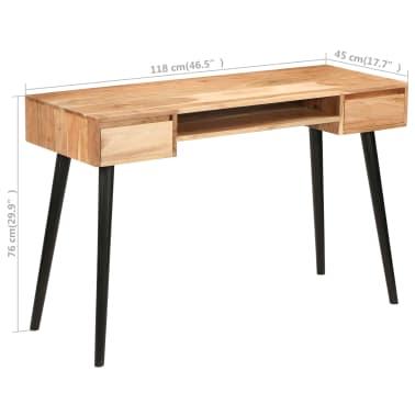 vidaXL Rašomasis stalas, akacijos medienos masyvas, 118x45x76cm[12/17]