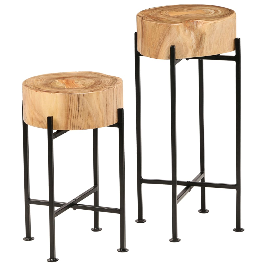 vidaXL Set de mese laterale 2 buc., lemn masiv de acacia imagine vidaxl.ro