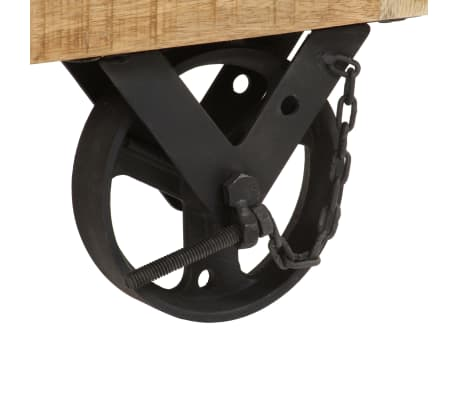 vidaXL Salontafel op wieltjes 110x50x37 cm massief mangohout[8/13]