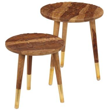 vidaXL Konferenční stolky 2 ks masivní sheeshamové dřevo[1/13]