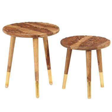 vidaXL Konferenční stolky 2 ks masivní sheeshamové dřevo[9/13]