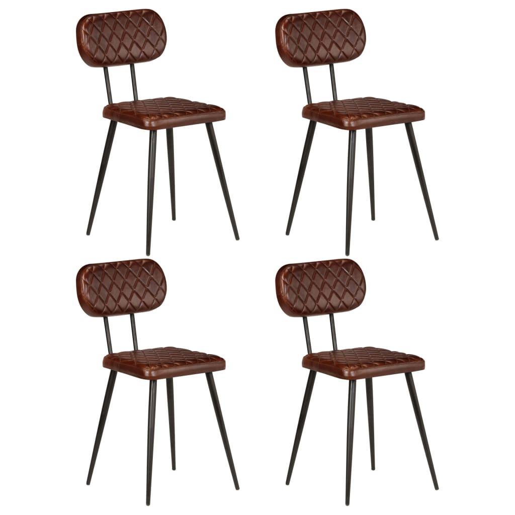 vidaXL Καρέκλες Τραπεζαρίας 4 τεμ. Καφέ από Γνήσιο Δέρμα