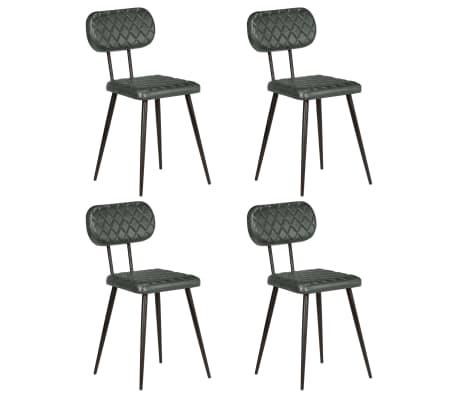 vidaXL virtuves krēsli, 4 gab., pelēka dabīgā āda