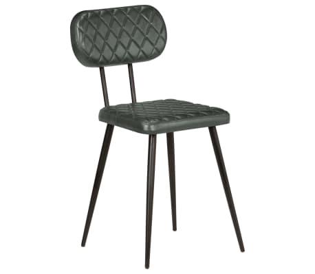 vidaXL Scaune de bucătărie, 4 buc., gri, piele naturală[2/9]