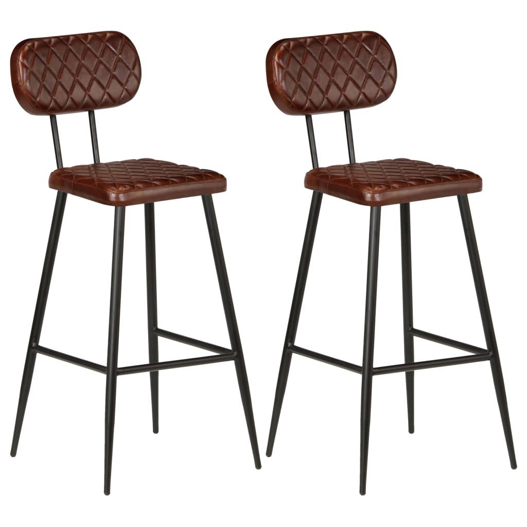 vidaXL Καρέκλες Μπαρ 2 τεμ. Καφέ από Γνήσιο Δέρμα