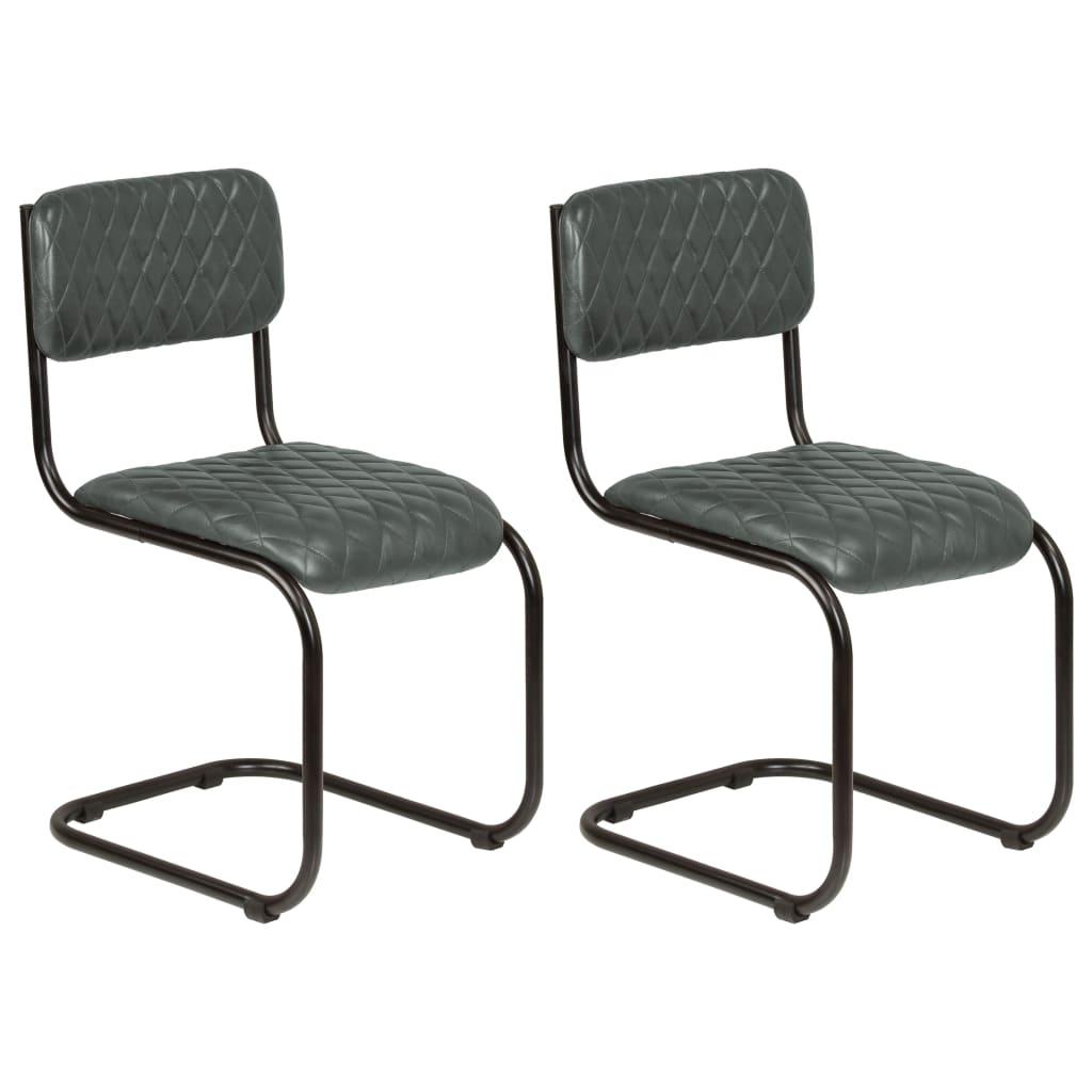 Esszimmerstühle 2 Stk. Grau Echtleder
