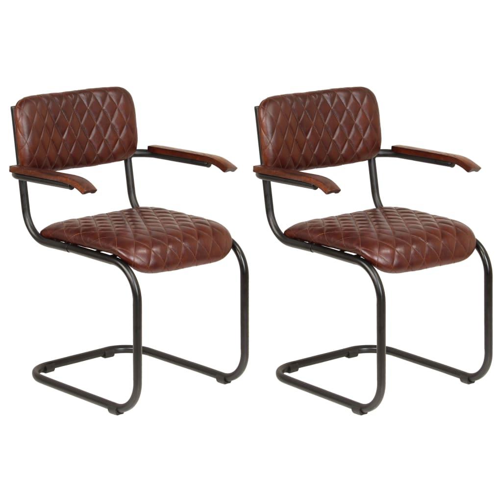 vidaXL Καρέκλες Τραπεζαρίας με Μπράτσα 2 τεμ. Καφέ από Γνήσιο Δέρμα