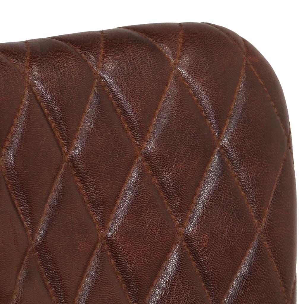 Eetkamerstoelen 2 st met armleuningen echt leer bruin