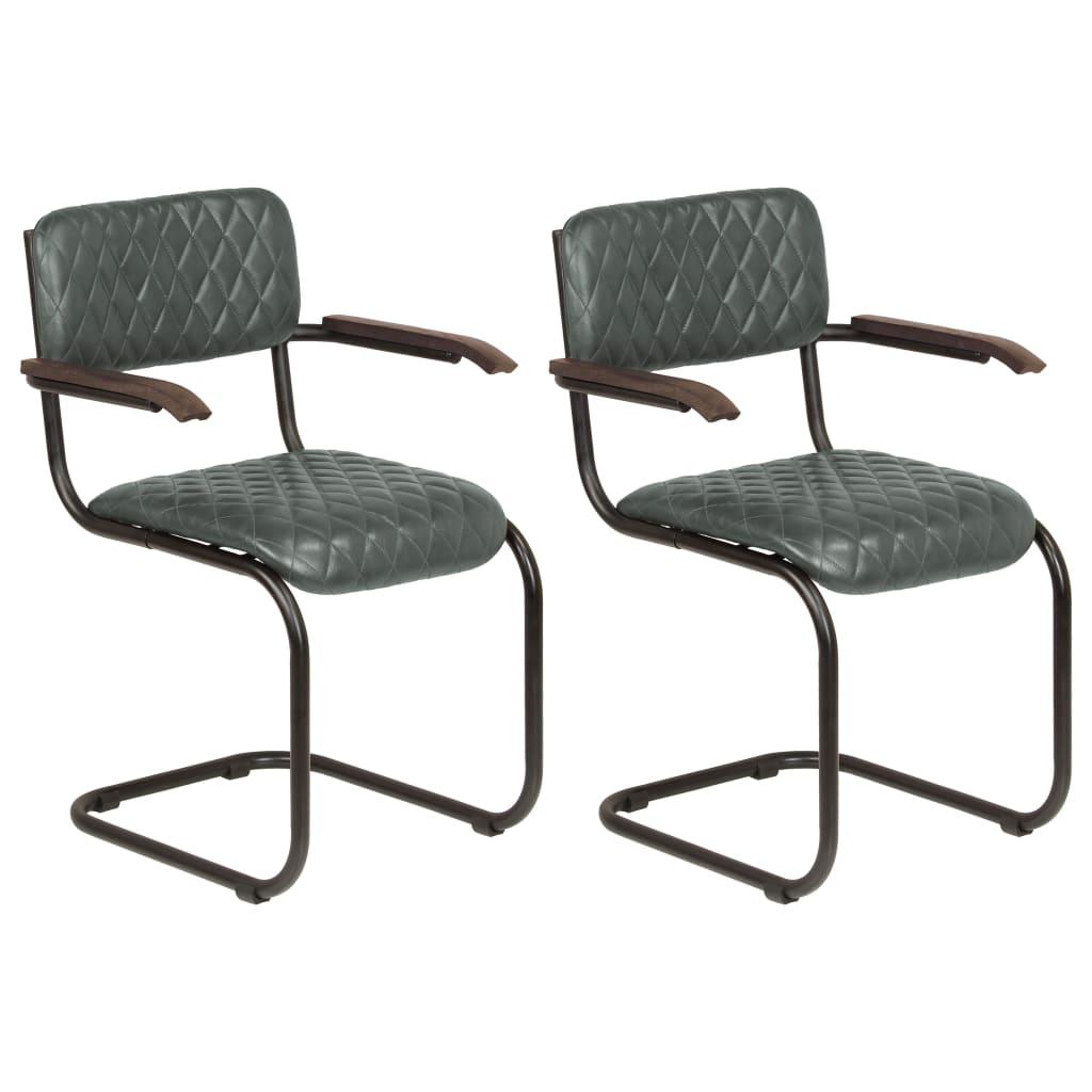vidaXL Καρέκλες Τραπεζαρίας με Μπράτσα 2 τεμ. Γκρι από Γνήσιο Δέρμα