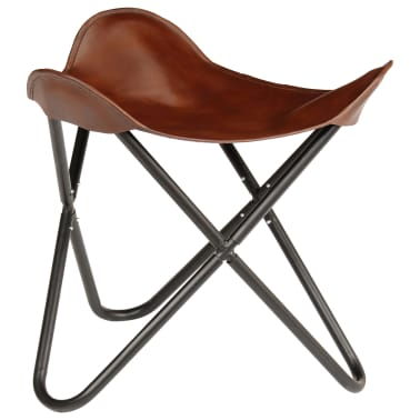 vidaXL Butterfly Stool Brown Real Leather[1/8]