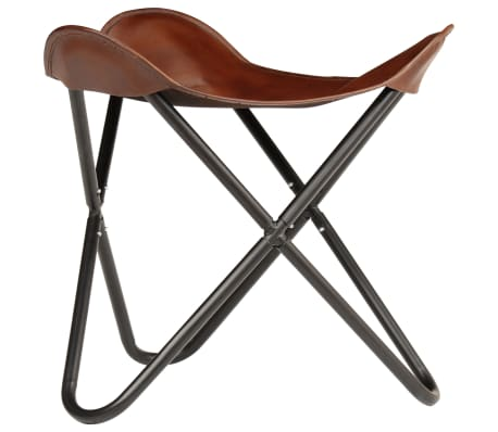 vidaXL Butterfly Stool Brown Real Leather[2/8]