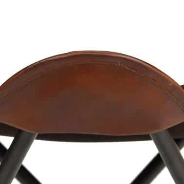 vidaXL Butterfly Stool Brown Real Leather[4/8]