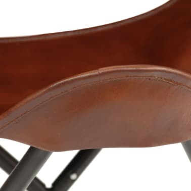 vidaXL Butterfly Stool Brown Real Leather[6/8]