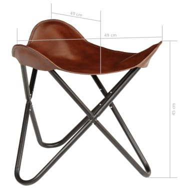 vidaXL Butterfly Stool Brown Real Leather[8/8]