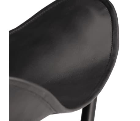 vidaXL Butterfly Stool Black Real Leather[5/8]
