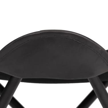 vidaXL Butterfly Stool Black Real Leather[4/8]