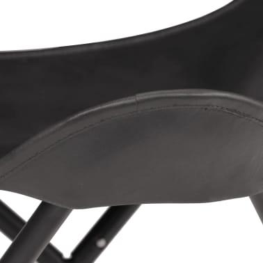 vidaXL Butterfly Stool Black Real Leather[6/8]