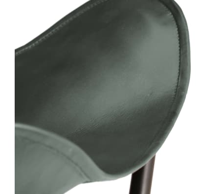 vidaXL Butterfly Stool Grey Real Leather[5/8]