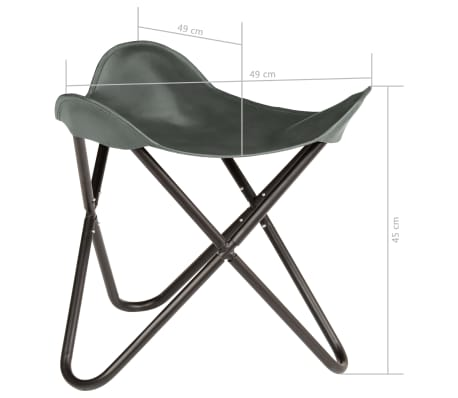 vidaXL Butterfly Stool Grey Real Leather[8/8]