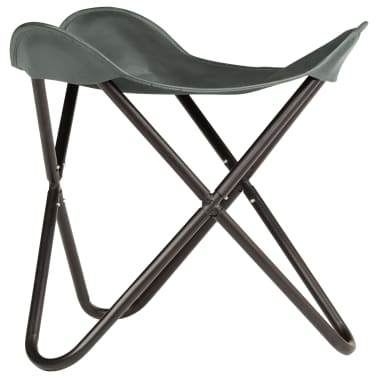 vidaXL Butterfly Stool Grey Real Leather[2/8]