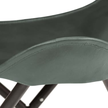 vidaXL Butterfly Stool Grey Real Leather[6/8]