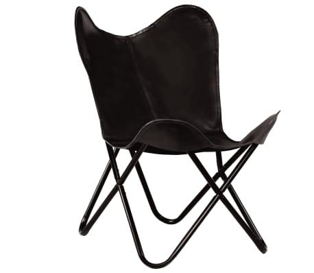 vidaXL tauriņa formas krēsls bērniem, melna dabīgā āda