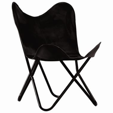 vidaXL Křeslo Butterfly černé pravá kůže dětská velikost[2/16]