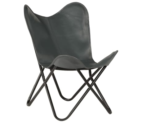 vidaXL Butterfly Chair Grey Kids Size Real Leather