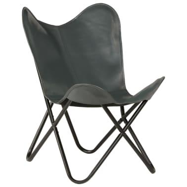 vidaXL Išskleidžiama kėdė, pilka, tikra oda[1/14]