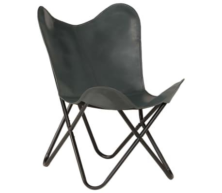 vidaXL Išskleidžiama kėdė, pilka, tikra oda[12/14]