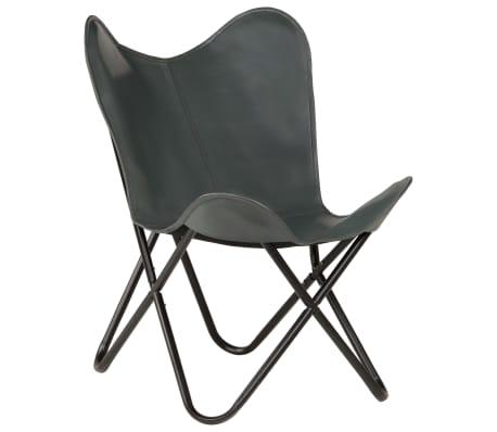 vidaXL Išskleidžiama kėdė, pilka, tikra oda[14/14]