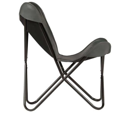 vidaXL Išskleidžiama kėdė, pilka, tikra oda[3/14]