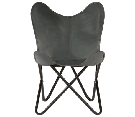 vidaXL Išskleidžiama kėdė, pilka, tikra oda[5/14]