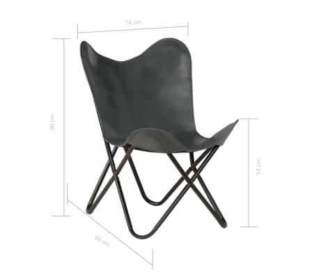 vidaXL Išskleidžiama kėdė, pilka, tikra oda[10/14]