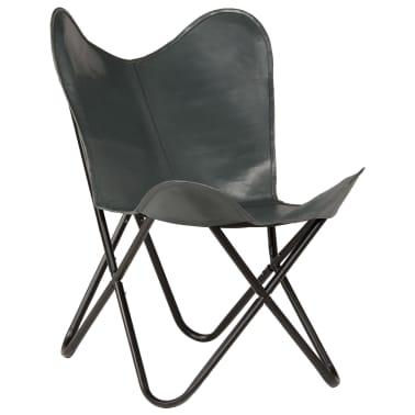 vidaXL Išskleidžiama kėdė, pilka, tikra oda[11/14]