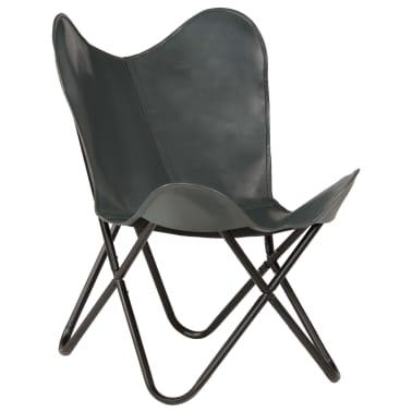 vidaXL Išskleidžiama kėdė, pilka, tikra oda[13/14]