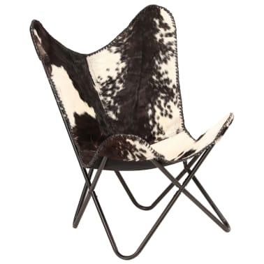 vidaXL Chaise papillon Noir et blanc Cuir véritable de chèvre[11/12]