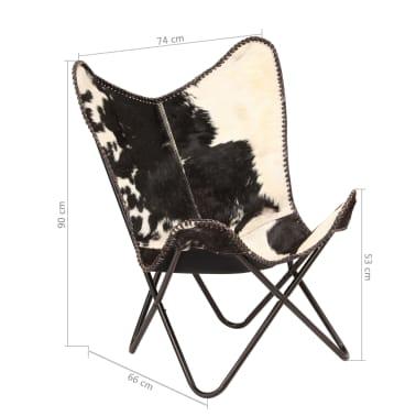 vidaXL Chaise papillon Noir et blanc Cuir véritable de chèvre[12/12]