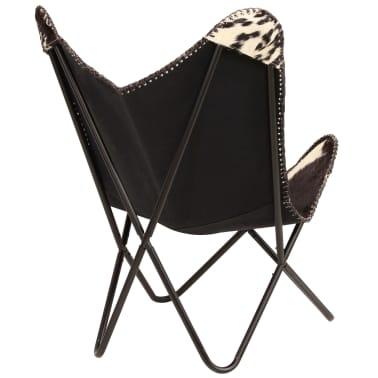 vidaXL Chaise papillon Noir et blanc Cuir véritable de chèvre[3/12]