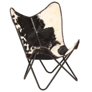 vidaXL Chaise papillon Noir et blanc Cuir véritable de chèvre[9/12]